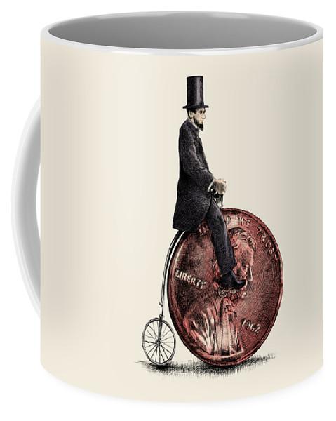 Abe Coffee Mug featuring the digital art Penny Farthing by Eric Fan