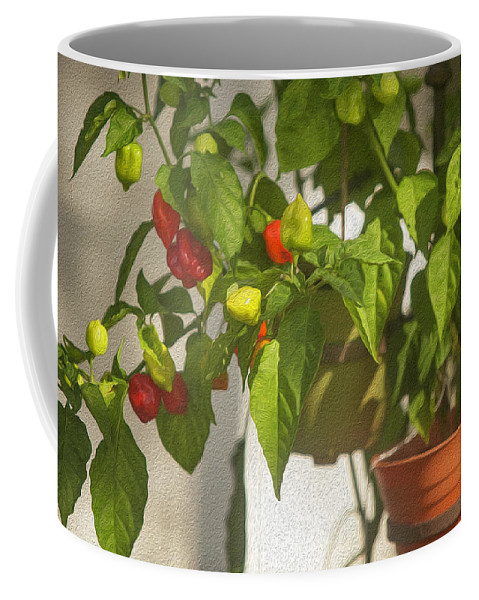 Red Peppers Coffee Mug featuring the photograph Peppers On The Porch by SL Ernst