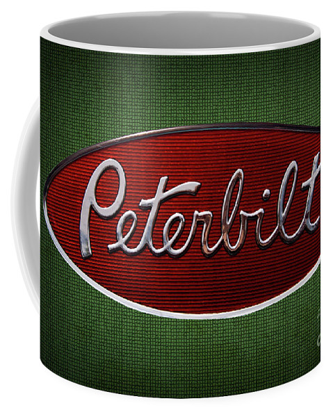 Peterbilt Coffee Mug featuring the photograph Peterbilt Emblem Green 5 Pattern by Nick Gray