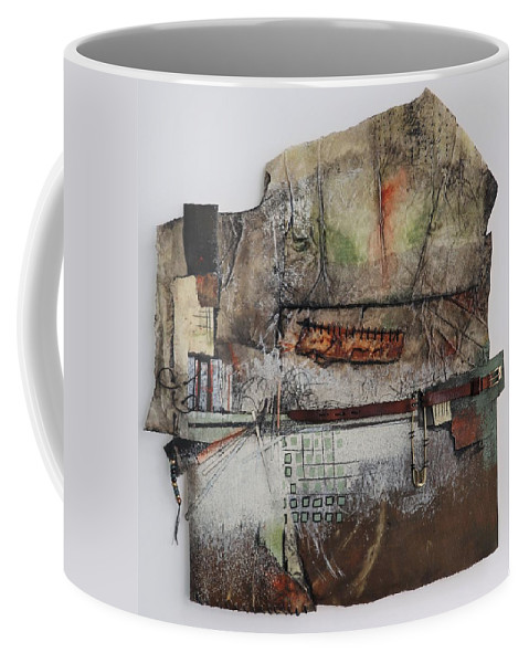 Collage Art Coffee Mug featuring the mixed media Pin, Buckle, Stitches by Laura Lein-Svencner