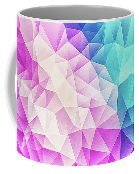 Colorful Coffee Mug featuring the digital art Pink Ice Blue Abstract Polygon Crystal Cubism Low Poly Triangle Design by Philipp Rietz