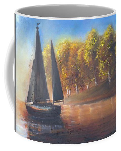 Sail Coffee Mug featuring the painting Plain Sailing, Boat Painting by Laurel Moore