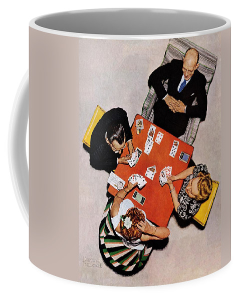 Bridge Coffee Mug featuring the drawing Playing Cards by Norman Rockwell
