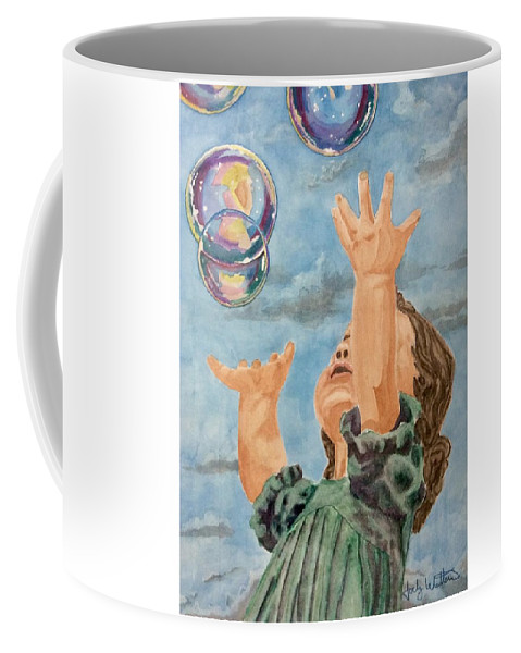 Girl Coffee Mug featuring the painting Playing With Bubbles by Jody Whittemore