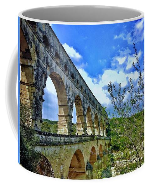 Europe Coffee Mug featuring the digital art Pont Du Gard by Scott Waters