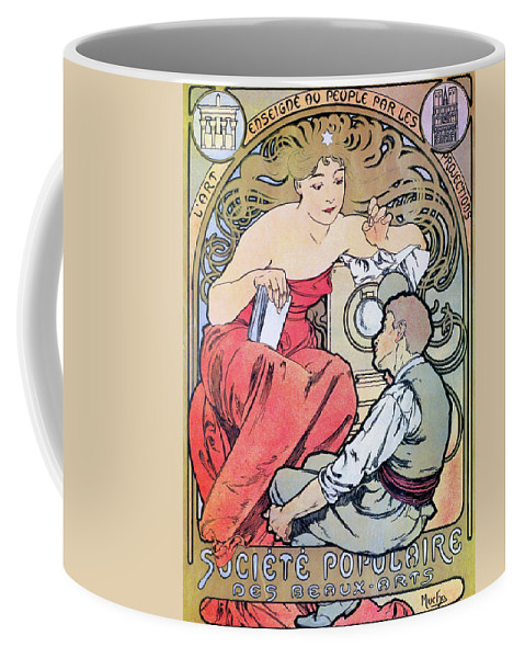 Alfons Maria Mucha Coffee Mug featuring the painting Popular Art Association - Digital Remastered Edition by Alfons Maria Mucha