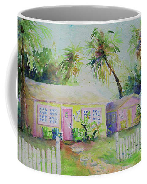 Port Aransas Coffee Mug featuring the painting Port A Cabins by Marsha Reeves