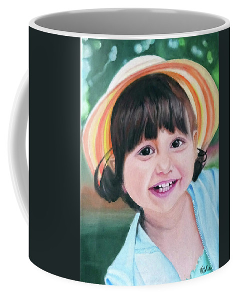 Coffee Mug featuring the painting Portrait Of Little Girl. by Calin Vacaru