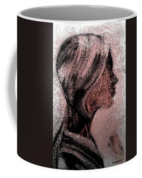 Prints Coffee Mug featuring the drawing Portrait Of Young Woman by Seshadri Sreenivasan