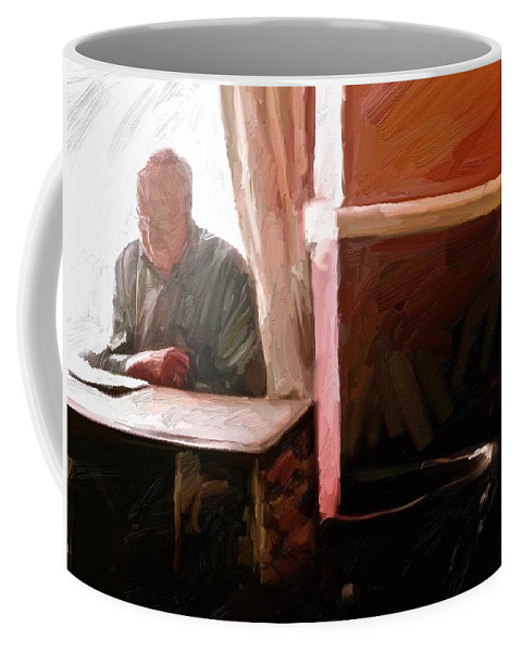 Cornwall Coffee Mug featuring the digital art Down the Arms by Scott Waters