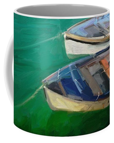 Portreath Coffee Mug featuring the digital art Portreath Tenders by Scott Waters