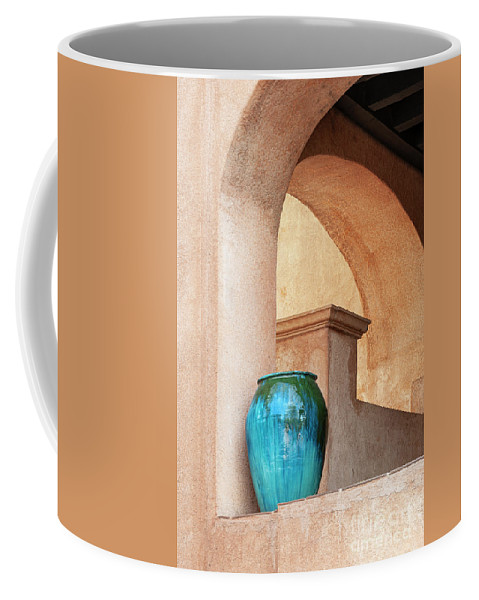 Southwest Coffee Mug featuring the photograph Pottery and Archways by Sandra Bronstein