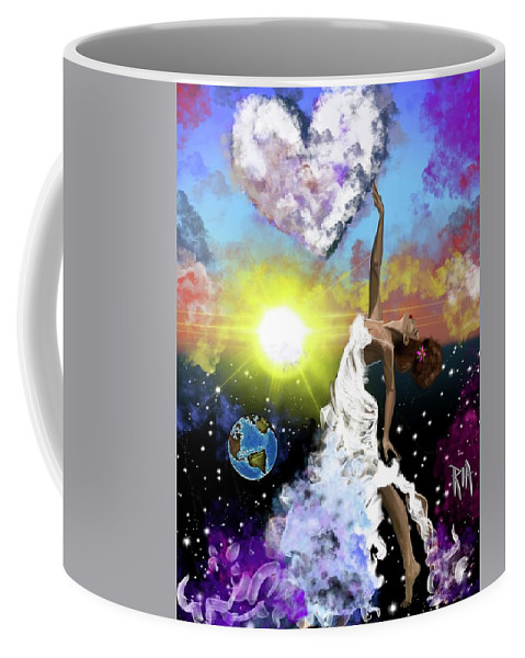 Coffee Mug featuring the painting Prayer before the Sun Sets by Artist RiA