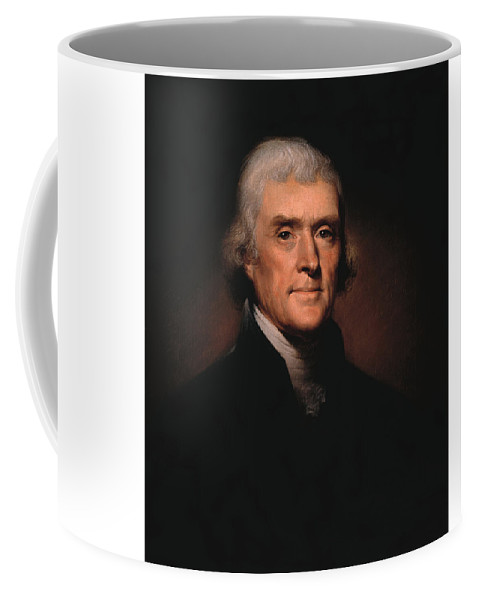Thomas Jefferson Coffee Mug featuring the painting President Thomas Jefferson by War Is Hell Store