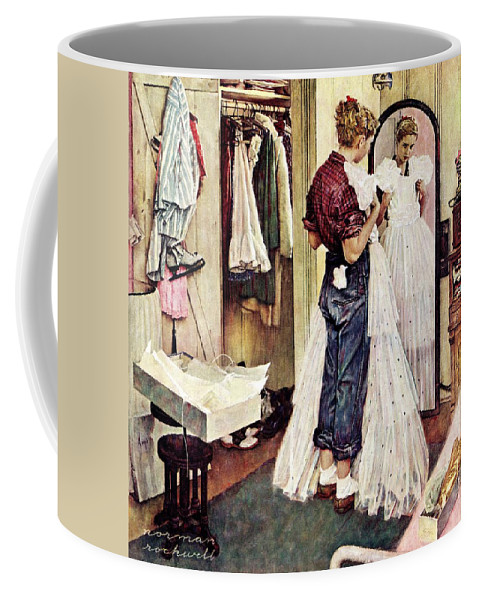 Dresses Coffee Mug featuring the drawing Prom Dress by Norman Rockwell