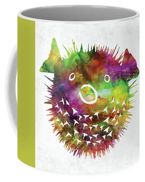 Fish Coffee Mug featuring the digital art Puffer Fish Face Watercolor by Mihaela Pater