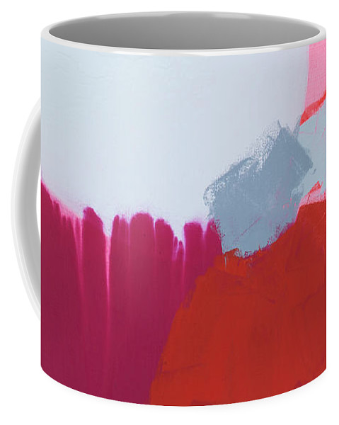 Abstract Coffee Mug featuring the painting Pussycats In Pussy Hats by Claire Desjardins
