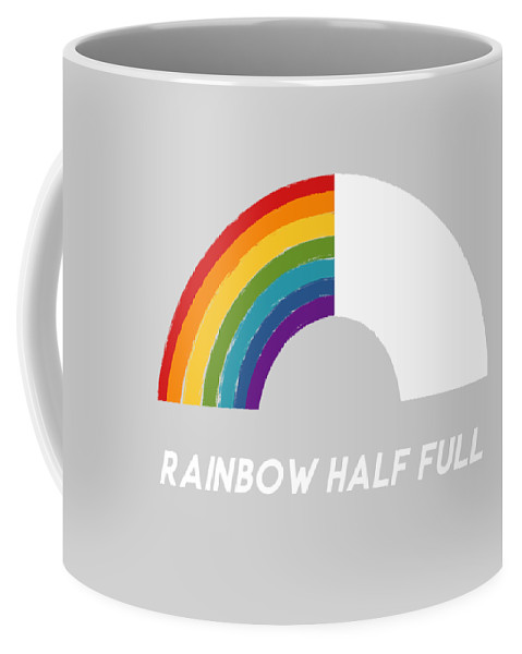 Rainbow Coffee Mug featuring the mixed media Rainbow Half Full- Art By Linda Woods by Linda Woods
