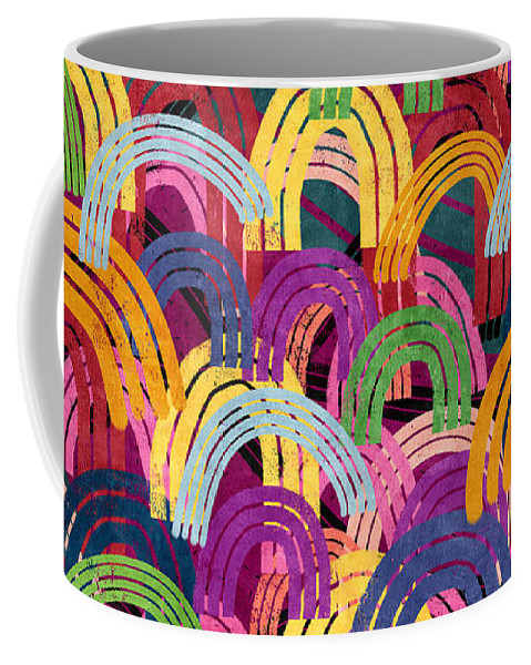 Colorful Art Coffee Mug featuring the mixed media Rainbow Party- Art By Linda Woods by Linda Woods