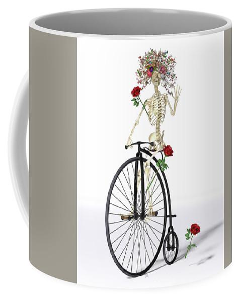 Skeleton Coffee Mug featuring the digital art Rambling Rosy by Betsy Knapp