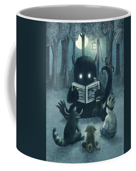 Monsters Coffee Mug featuring the drawing Reading Circle by Eric Fan