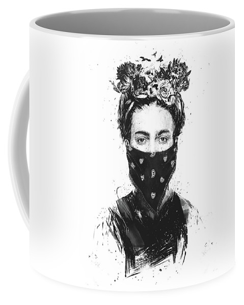 Girl Coffee Mug featuring the drawing Rebel girl by Balazs Solti