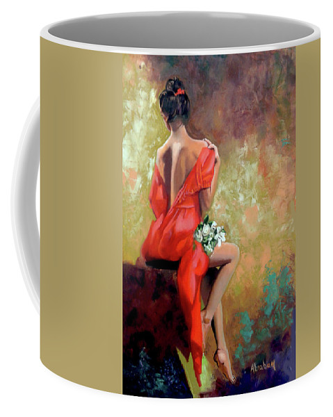 Women Coffee Mug featuring the painting Red Lady 2 by Jose Manuel Abraham