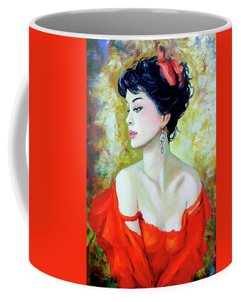 Lady Coffee Mug featuring the painting Red Lady by Jose Manuel Abraham
