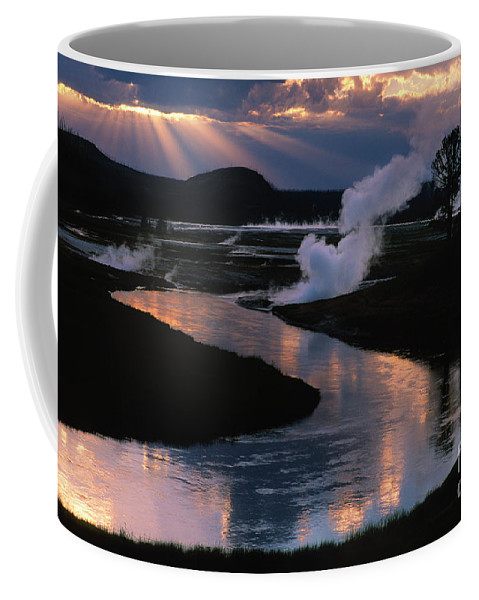 Landscape Coffee Mug featuring the photograph Reflections On The Firehole River by Sandra Bronstein