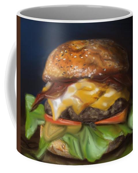 Burger Coffee Mug featuring the pastel Renaissance Burger by Fe Jones