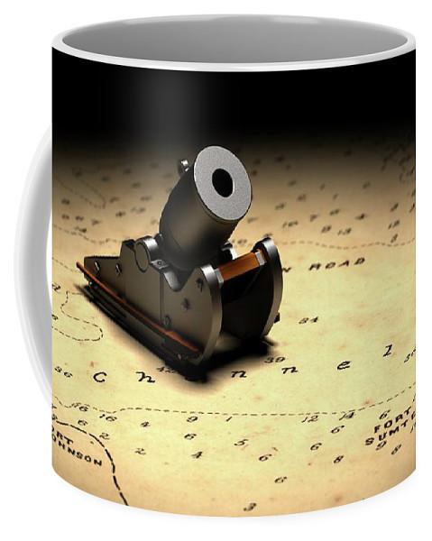 American Civil War Coffee Mug featuring the digital art Representation Of The Gun Which Fired The Opening Shot Of The American Civil War by American School