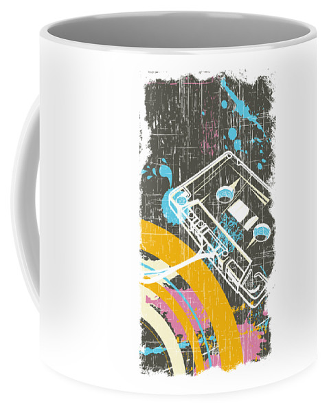 Dj Coffee Mug featuring the digital art Retro Vintage Classic Cassette by Passion Loft