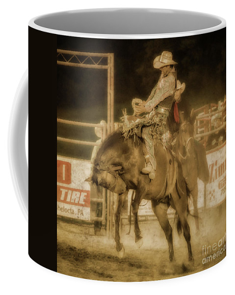 Rodeo Rider Bronco Busting Coffee Mug featuring the digital art Rodeo Rider Bronco Busting Sepia One by Randy Steele