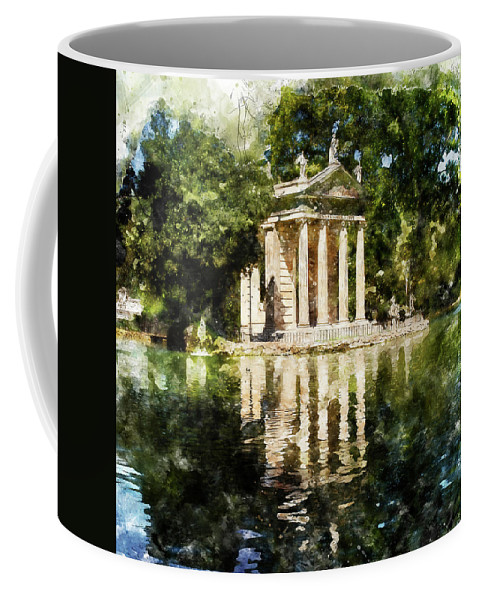 Rome Coffee Mug featuring the painting Rome, Ancient Temple Of Aesculapius - 04 by Andrea Mazzocchetti