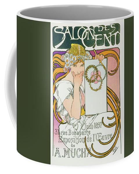 Alfons Maria Mucha Coffee Mug featuring the painting Salon Des Cend, Mucha Exhibition - Digital Remastered Edition by Alfons Maria Mucha
