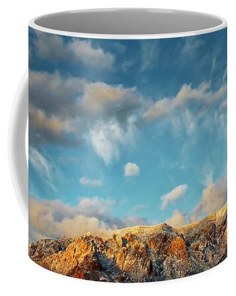 Southwest Coffee Mug featuring the photograph Sandia Gold, Sandia Mountain, Albuquerque, NM by Zayne Diamond Photographic