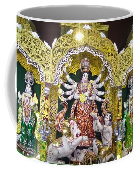 Goddess Durga Coffee Mug featuring the pyrography Sau by Saurav