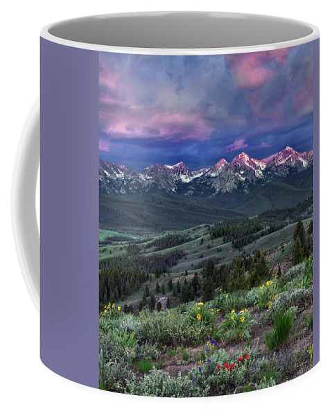 Idaho Scenics Coffee Mug featuring the photograph Sawtooth Sunrise by Leland D Howard