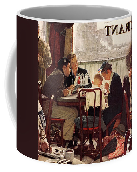 Eating Coffee Mug featuring the drawing Saying Grace by Norman Rockwell