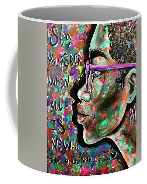 Depressed Coffee Mug featuring the painting See yourself when all is new by Artist RiA