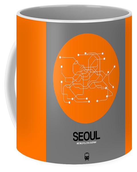 Vacation In Korea Coffee Mug featuring the digital art Seoul Orange Subway Map by Naxart Studio