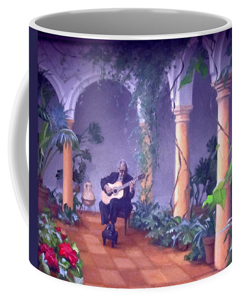 Sergovia Coffee Mug featuring the painting Sergovia In A Spanish Garden by Dennis Earley