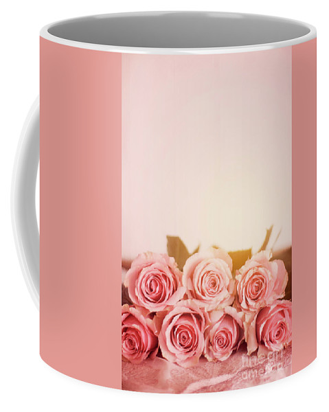 Seven Pink Roses With A Plain Pink Background Coffee Mug