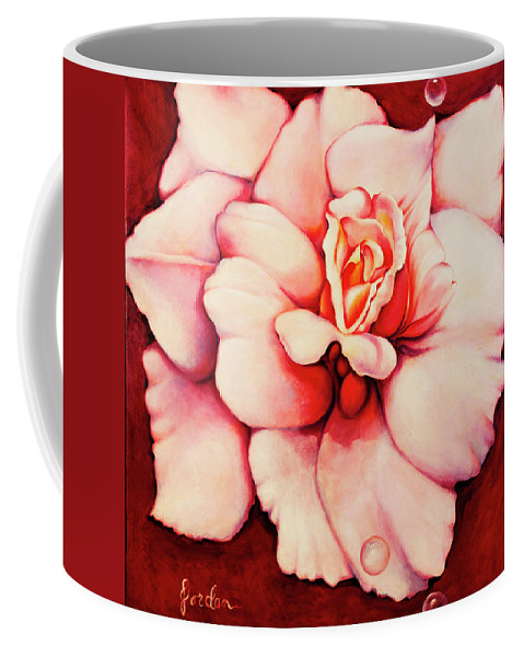 Blooms.large Rose Coffee Mug featuring the painting Sheer Bliss by Jordana Sands
