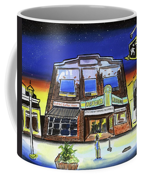 Cinema Coffee Mug featuring the painting Show Time-acadia Cinema by Kevin Cameron