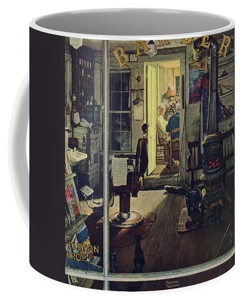 Barbers Coffee Mug featuring the drawing Shuffleton's Barbershop by Norman Rockwell