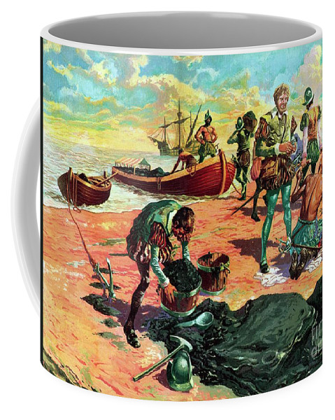 Ships Coffee Mug featuring the painting Sir Walter Raleigh In Trinidad Examining Pitch by Jose Ortiz