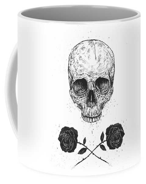 Skull Coffee Mug featuring the drawing Skull N' Roses by Balazs Solti