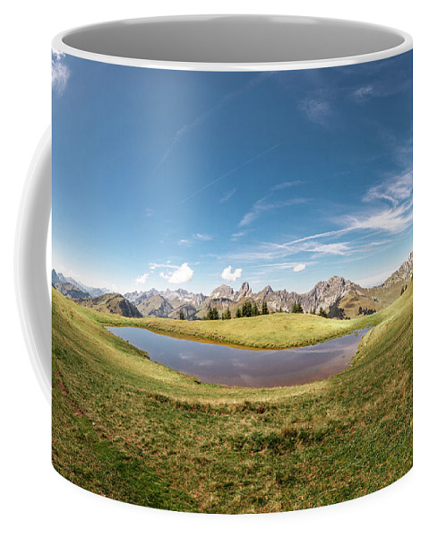 Swiss Alps Coffee Mug featuring the photograph Small Lake In The Mountains by Mark Stastny