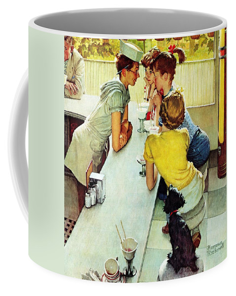Counterman Coffee Mug featuring the drawing Soda Jerk by Norman Rockwell
